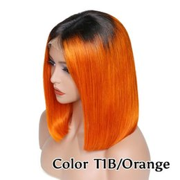 Peruca de cabelo curto laranja on-line-Rendas Frente perucas Curtas BOB 1B cor De Laranja Pré Arrancadas Natural Da Linha Fina Indiano Peruano Cabelo Brasileiro Bleach Knots 150% DensityMalaysian