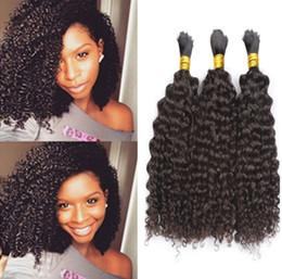 Pelo trenzado de 26 pulgadas online-A granel brasileño del pelo del trenzado humano sin trama 16-28 pulgadas Afro rizado rizado pelo a granel para afroamericano
