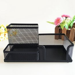 Argentina Mesh Desk Organizer Suministros de oficina Caddy Combination Pen Holder Card Case Organizer Storage Box Black cheap box caddy Suministro