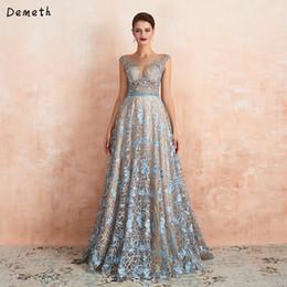Schöne schiere Hals Abendkleider Flügelärmeln blaue Spitze Illusion formelle Kleidung Champagner innere eine Linie Abendkleid mit Perlen von Fabrikanten