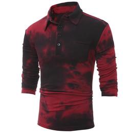 Camisa polo para hombre Marcas 2019 Hombre manga larga Casual Tie Dye Print Polos Hombres algodón Poloshirt hombres Camisa Masculina desde fabricantes