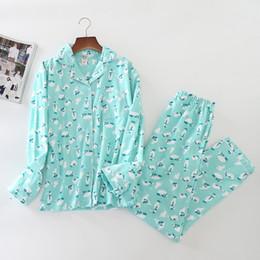 2019 traje de oso azul Blue Bear Women Sleepwear 100% algodón cepillado pijamas mujeres 2019 primavera traje femenino pijamas suave cálido Pijama Mujer * traje de oso azul baratos