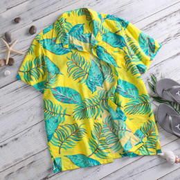 bright collar shirt Promo Codes - Summer Beach Shirt Mens Clothing Bright Hawaiian Cotton Short Sleeve Lapel Collar Leaf Pattern Tee Masculina Camisas Chemise