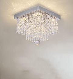 Lampadari quadrati online-Lampadari di cristallo quadrati moda lampadari LED ristorante corridoio ad alta potenza LED Lampadario led luce lustro Lampadari