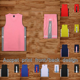 Traje negro rosa hombres online-ropa de baloncesto traje a medida rosa de los hombres de negro jerseys mayores Niños Conjuntos de baloncesto Los estudiantes de secundaria de los hombres de gran tamaño de baloncesto lleva
