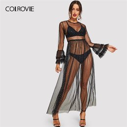 e9d5a930f45 COLROVIE Black Contrast Mesh Sheer Transparent Sexy Night Club Dress Women  2019 Summer Streetwear Long Sleeve Maxi Shift Dress