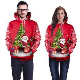 Santa claus top online-Mens New Red Christmas Hoodies 3D-Weihnachtsmann-Baum Printed Hoodie Hip Hop Pullover Homme Tops