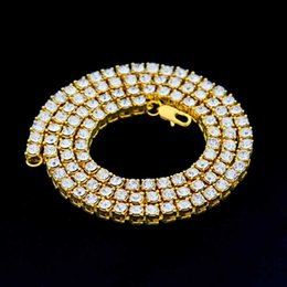 cadena de oro rosa miami cubana Rebajas Cadenas heladas de Hip Hop Cadena de oro 1 hilera Bling simulado Corte redondo Collar de tenis Cadena 18 pulgadas --36 pulgadas Mens Punk Collar de diamantes de imitación