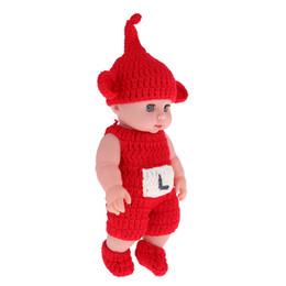Argentina 30 cm encantador realista bebé recién nacido modelo muñeca suave vinilo en conjunto de sombrero de mono rojo cheap jumpsuit babies Suministro