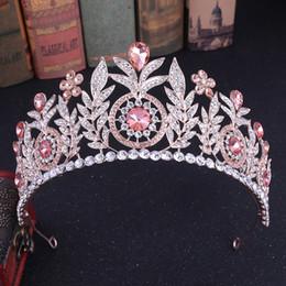 Accesorios para el cabello de la boda de moda de color rosa hoja de cristal tiaras nupciales y coronas desfile Rhinestone Rose Gold Tiara diademas 2019 desde fabricantes