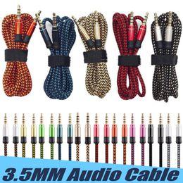 2019 cables auxiliares para coche 1.5M Nylon Jack Cable de audio Cable de 3.5mm a 3.5mm Aux. Cable macho a macho Cable dorado Cable auxiliar de coche para iPhone Samsung para altavoz cables auxiliares para coche baratos