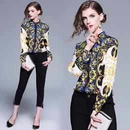 Colletto in su online-Camicie classiche da uomo in stile barocco con stampa collare primaverile di lusso per la primavera e inverno