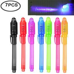 7 шт УФ-свет ручка невидимые чернила ручка дети шпион игрушка ручка со встроенным УФ-света подарки и маркировка безопасности supplier lighting mark от Поставщики световой знак