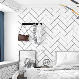 Nordic Tv Background Enrejado blanco y negro Papel pintado Geometría Dormitorio Sala de estar Moda moderna Ladrillo blanco Papel de pared de azulejo desde fabricantes
