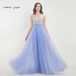 Lemon joyce Tulle Long Prom 2018 Elegant V-Neck Backless With Crystals  Floor Length Dresses Party Dress Gowns Plus Size C18122201 9b6360051eb8
