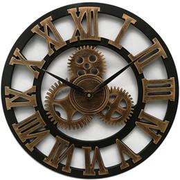 orologi da parete a ingranaggi grandi Sconti Orologio da parete in legno di grandi dimensioni Orologio da orologio vintage in stile americano Soggiorno Decorazione da parete Design moderno per orologi da parete sul Wal