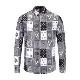 Camisas floridas para homens on-line-NOVA nova primavera e outono camisa de algodão dos homens beleza dusa flores impressão retro cor casual Harajuku homens de luxo camisa de vestido