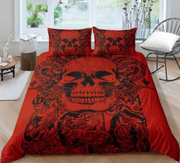 Funda nórdica roja completa online-Red Skull Bedding Set Venta caliente Scary King Queen Funda nórdica Impreso en 3D Full Twin Single Double Bed Cover con funda de almohada 3pcs