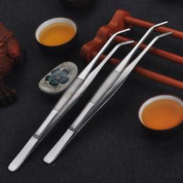 Pinzas de pinzas de metal inoxidable alargadas y engrosadas, tazas de productos de té de Kungfu, accesorios de canal desde fabricantes