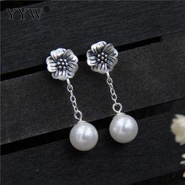 2019 thaïlande argent Boucles d'oreille de perles d'eau douce de Thaïlande en argent sterling avec une perle d'eau douce naturelle pour femme 9.50mm thaïlande argent pas cher