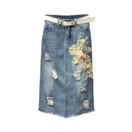 denim fabric washing Coupons - women clothing denim fabric destroy washed flower skirts split skirts high waist slim hole women cowboy solid color 5xl