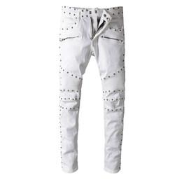 männer holey jeans Rabatt Justin Bieber Furcht vor Gott Stil Herren Distressed Destroyed Zerrissene Holey-Hosen Weiß Metall Rivet Denim Skinny Robin Jeans Slim Jeans für Männer