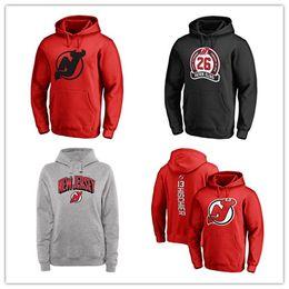 Красная дьявольская толстовка онлайн-New Jersey Devils Мужские толстовки хоккейные Фирменные Black Ash Red Серые куртки с длинным рукавом Верхняя одежда Пальто 18 19 Спортивные с капюшоном с логотипом