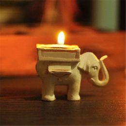 2019 velas do casamento do elefante Lucky Elephant Candles Titular favores do casamento resina Tea Light Velas Titular Presentes de Aniversário de Casamento com tealight velas do casamento do elefante barato