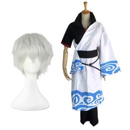 Kimono gintama online-Gintama Sakata Gintoki Cosplay Kimono conjunto de ropa para fiesta de Halloween