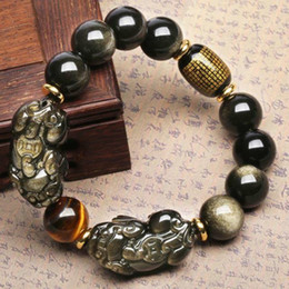 Ornamento de mão de buda on-line-Obsidian dupla animal selvagem pulseira de ouro Yao seqüência de pedra mão Buddha contas duna couro para atrair dinheiro e transferência de ornamentos mão
