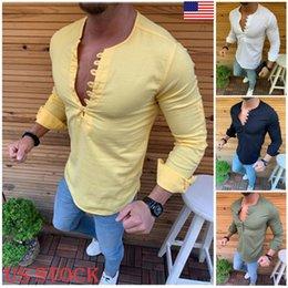 2019 Yeni trendy katı v yaka ince ilkbahar yaz erkek Kas Rahat Gömlek Slim Fit T-Shirt Uzun Kollu Resmi Üstleri artı boyutu cheap t shirt muscle v neck nereden tişört kası v boyun tedarikçiler
