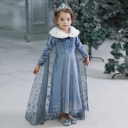 Le ragazze congelate i costumi online-Neonate Winter Dress bambini congelata principessa Dresses del partito dei capretti costume di Halloween Cosplay abbigliamento con il pacchetto da DHL