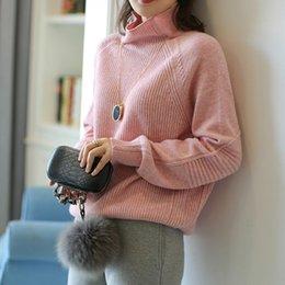 mulheres confortáveis suéter de cashmere Desconto das mulheres gola solta confortável Cashmere camisola cor sólida completo manga Knit Pullover Inverno Bottoming Jacket Sweater Nova