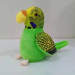 2019 batteriebetriebene dinosaurierspielzeug Elektrisches sprechendes Papageienspielzeug Nette sprechende Aufzeichnung wiederholt das Wellenartig bewegen des Flügel-elektronischen Vogel-angefüllten Plüsch-Spielzeugs mit Regal-Kindergeschenk