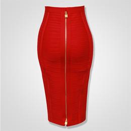 2019 faldas de mezclilla mujeres al por mayor 4 colores de calidad superior niña sexy bodycon longitud de la rodilla espalda con cremallera vendaje falda mujeres Tight Club Pary moda falda Y19043002