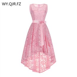 OML525F # frente corto y largo trasero Pink Bow Vestidos de noche Classmate vestido de fiesta vestido de fiesta al por mayor barato ropa de moda desde fabricantes