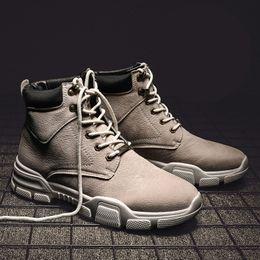 Leder Koreanische Version Von Männer Flut Neue Plus Samt Warme Baumwolle Schuhe In Die Hohe Zu Helfen Wüste Werkzeug Stiefel Home