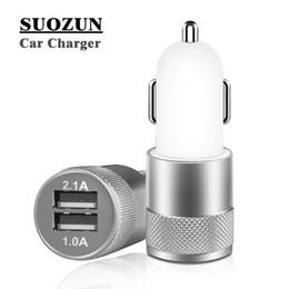 circuits de chargeur de batterie Promotion Chargeur de voiture à double port USB en métal SUOZUN universel 12 volts / 1 ~ 2 ampères pour Apple iPhone iPad iPod / Samsung Galaxy Droid Nokia Htc