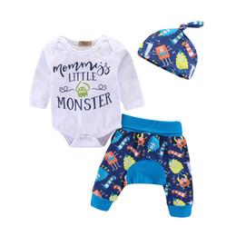 2019 calças bonitos do bebé INS MONSTER bebê ternos bonito do bebê menino roupas roupas recém-nascidos romper + haroun calças + chapéus 3 pçs / sets bebê infantil roupas de grife menino A7044 desconto calças bonitos do bebé