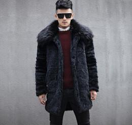 Cappotto in pelle di visone finto autunno mens grande collo di pelliccia  inverno addensare caldo cappotto di pelle pelliccia uomini giacche sottili  moda ... 4d654209d88b
