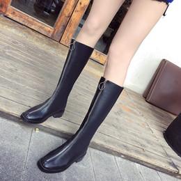 2019 botas altas de terciopelo muslo 2019 nuevas botas altas con cremallera frontal más terciopelo mantienen calientes botas de montar de tacón grueso de charol negro muslo alto