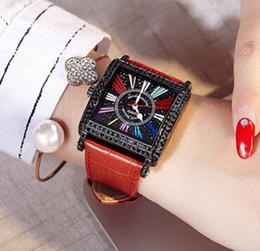 orologi quadrati neri delle donne Sconti 2019 nuovo orologio da donna di lusso moda casual quadrato rosso in pelle nera Orologi da donna orologio da donna al quarzo camouflage Montre femme reloj