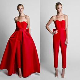 saias de uso formal Desconto 2019 Querida Krikor Jabotian Macacões Vermelhos Formais Vestidos De Noite Com Saia Destacável Vestidos de Baile Calças de Desgaste Do Partido para As Mulheres
