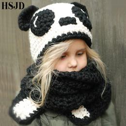 Cute Panda Handmade Crochet Hat Cartoon Animal cappelli per le ragazze dei ragazzi  Inverno caldo maglia sciarpa cappelli bambini Panda Photography puntelli e12b61bdd6f2
