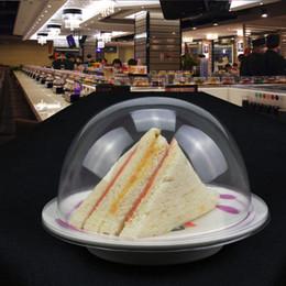 nastri trasportatori Sconti Coperchio di plastica per sushi piatto a buffet nastro trasportatore Sushi riutilizzabile trasparente copertura del piatto di torta ristorante accessori QW9918