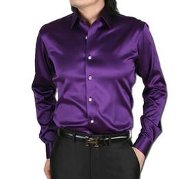 Gli abiti da sposa gli uomini piace online-Camicie di seta degli uomini di lusso da uomo manica lunga moda casual allentata di seta come gli uomini vestono la camicia più il formato vestiti della fase della festa nuziale