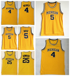 NCAA College Hommes Basketball 5 Jalen Rose Jersey Michigan Wolverines 4 Chris Webber 25 Maillots Juwan Howard Équipe Couleur Jaune Livraison Gratuite ? partir de fabricateur