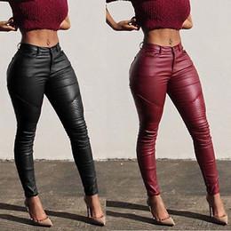 2019 animales sexy para mujer caliente NUEVA manera atractiva de las mujeres adelgazan los pantalones de cuero flaca elástico lápiz de los pantalones de cintura alta RedXL