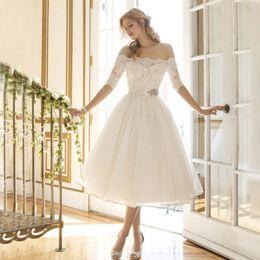Abiti da sposa da sposa Abiti da principessa Sexy da collo di slittamento  Donne Abiti da damigella d onore Abiti da ballo bianco per la signora  sorella ... 660accc13a10