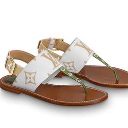 Calzado talla 35 41 online-Diseñador de lujo Mujeres Pisos Sandalias 2019 Moda Diseñadores de lujo Mujeres Zapatos Flor Impreso zapatillas con chanclas Sandalias tamaño 35-41